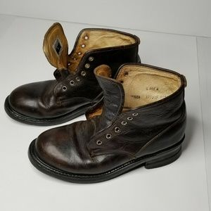 """Mens Dark Brown Frye Lace Up Boots Size 9.5 M """"902"""
